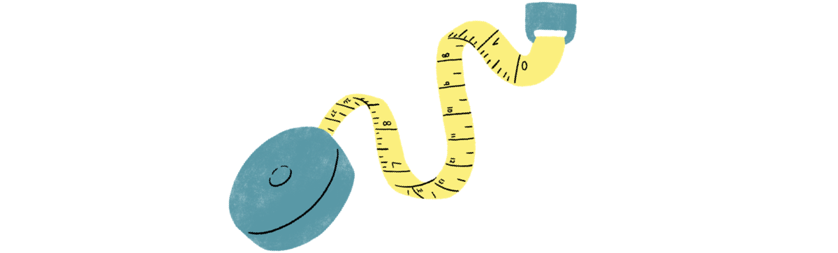 illustration of a yellow tape measure with a teal case
