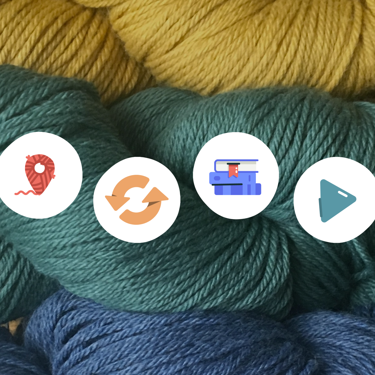 photo of yellow, teal, and blue yarns with Ravelry icons in a waving line across the image