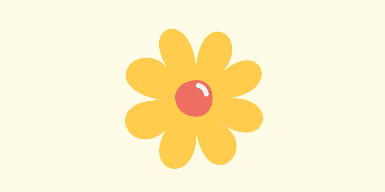 "Ravelry ""new"" daisy icon against a butter yellow background"