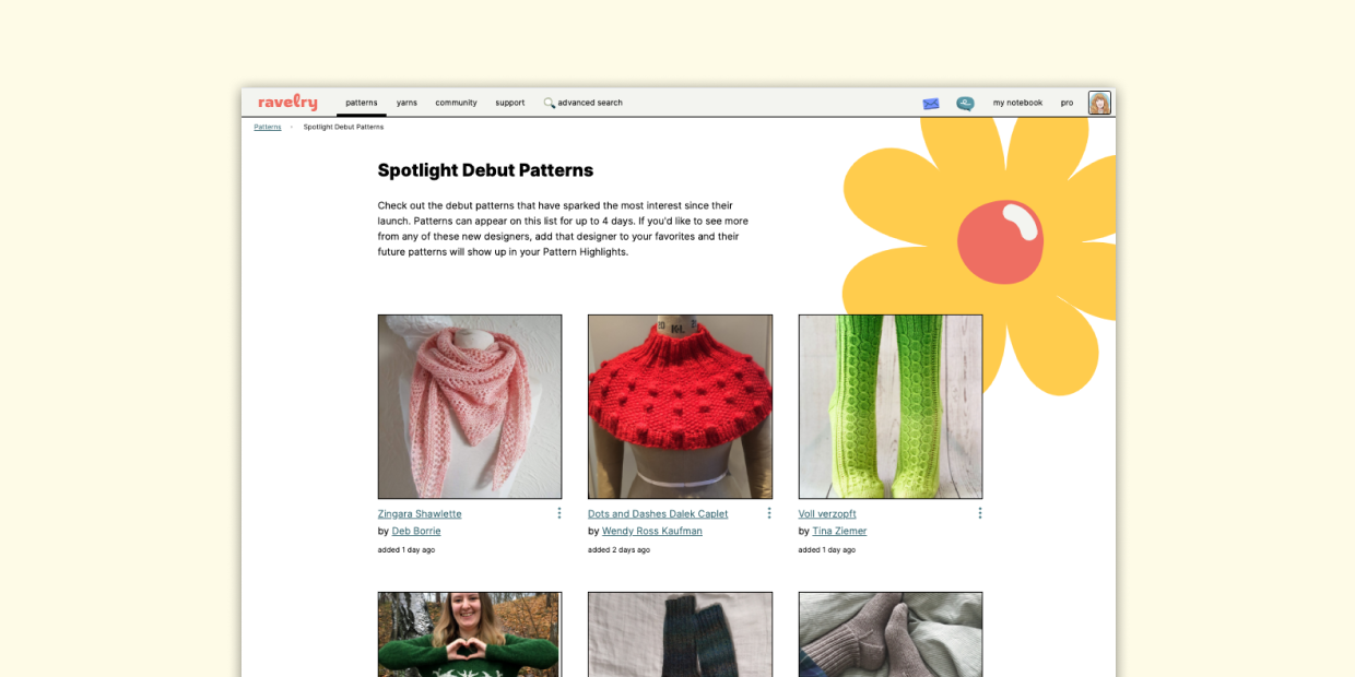 screenshot of the Spotlight Debut Patterns page featuring images of new patterns from new designers