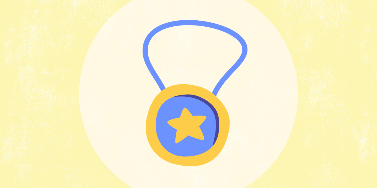 A yellow background with a yellow and blue medal in the center.
