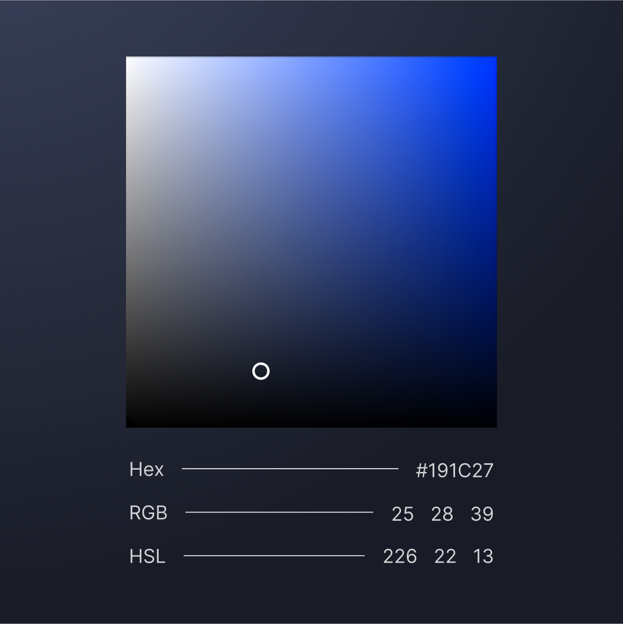 A graphic showing the color profile information for the background color of dark mode.