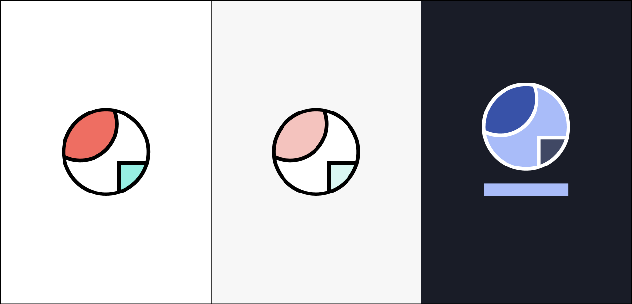 A graphic triptic showing 3 circles containing geometric shapes. The 3 colors represent the colors used in Ravelry's 3 modes.