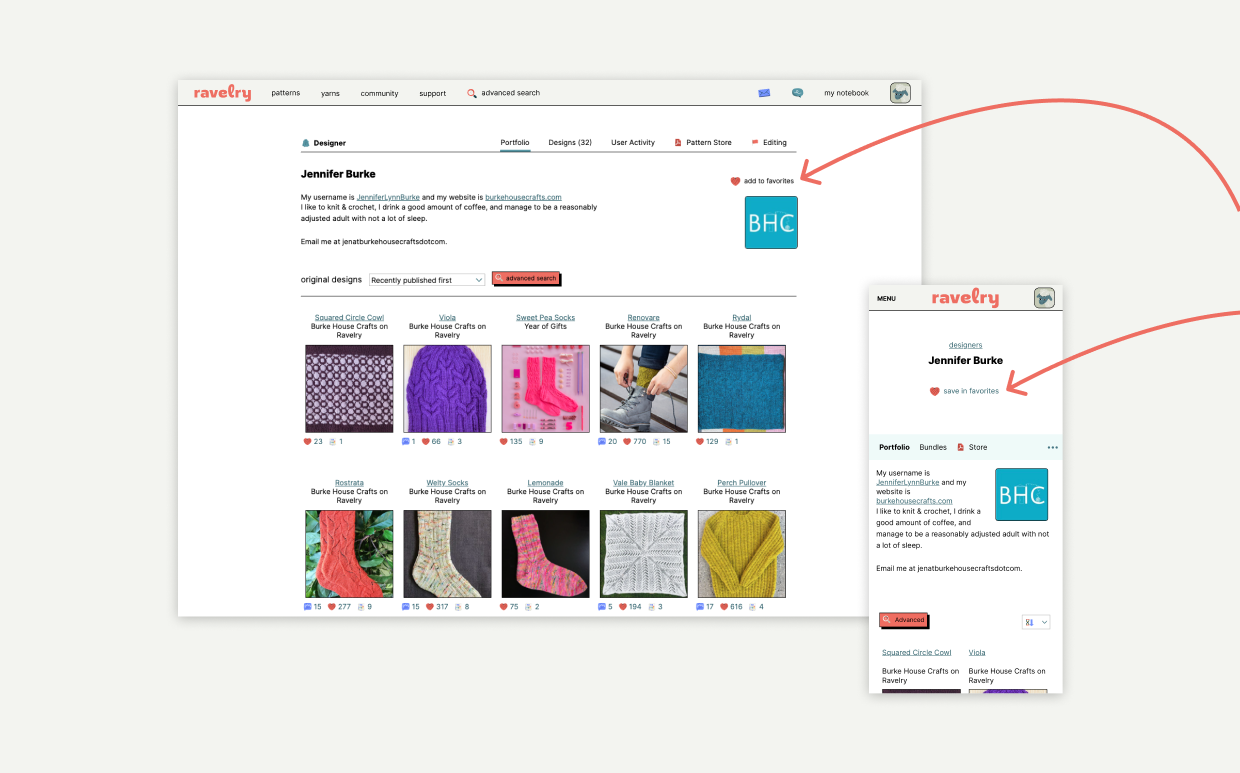 """screeenshots of designer Jennifer Burke's designer page on desktop and mobile Ravelry, with arrows pointing to the """"save in favorites"""" button"""